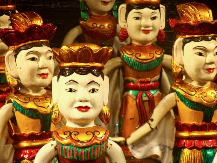 Close up of the Vietnamese water puppets