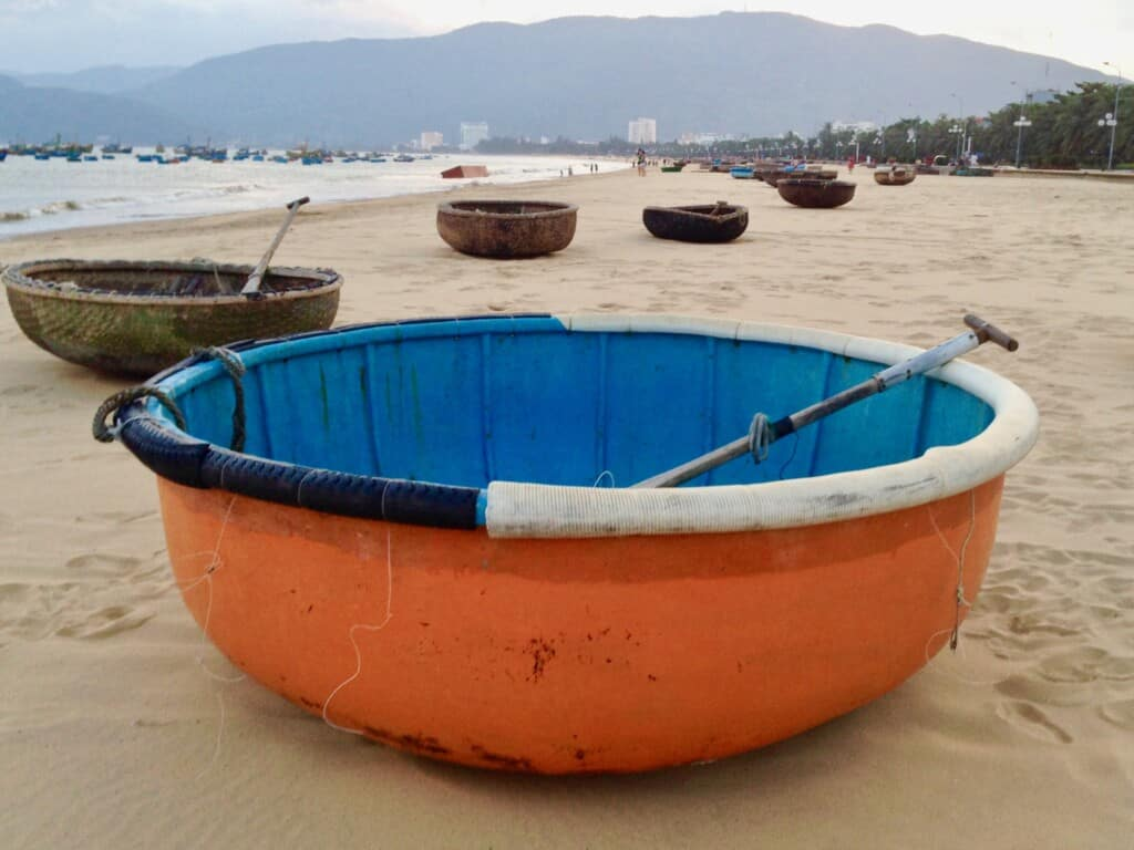 Painted round woven basket boat Quy Nhon,  Vietnam