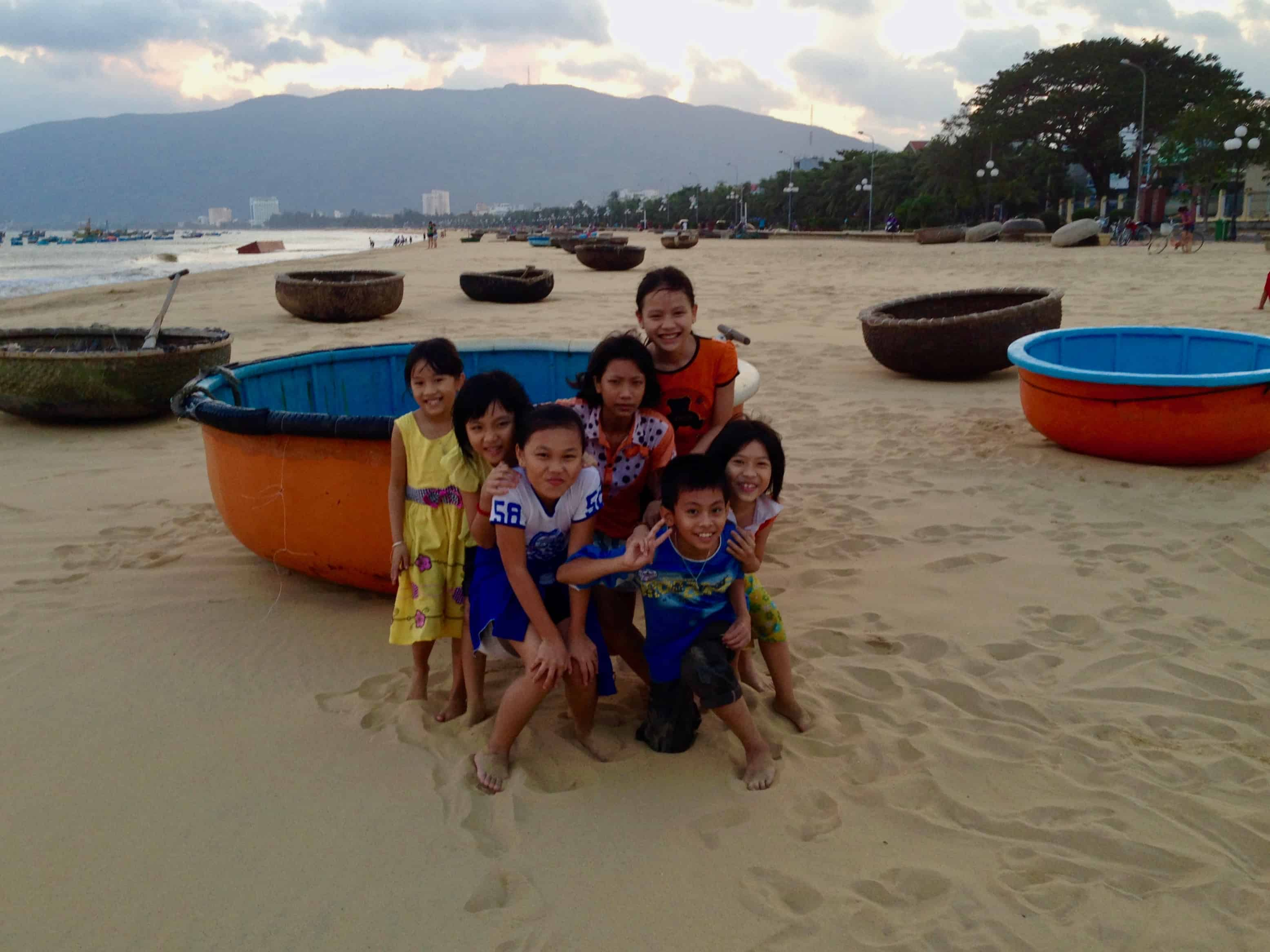 Basket Boats and Children on the Beach in Quy Nhon