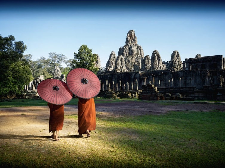 Ancient Temples and present day monks,