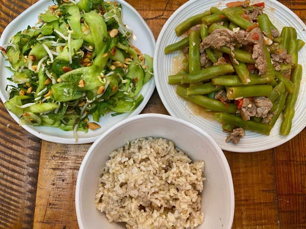 Vietnamese Cucumber Salad and stir-fry beef