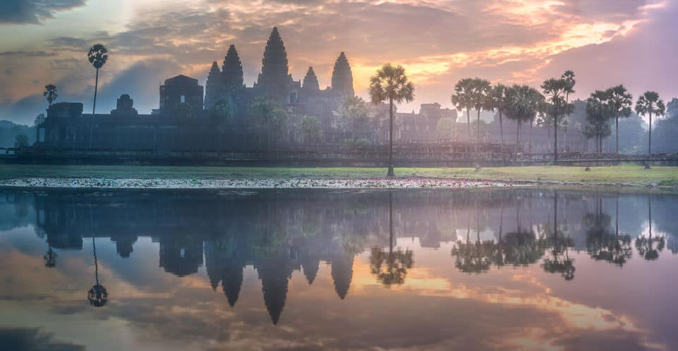Sunrise view of Angkor Wat in Siem Reap Cambodia. You can see the 5 pillars.