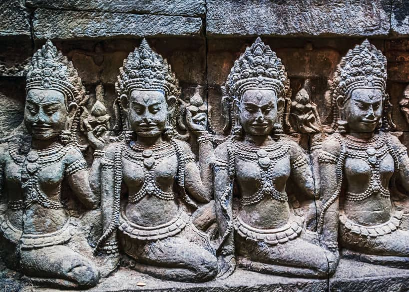 Apsara Bas Relief Stone Carved at Angkor Wat Temple, Siem Reap, Cambodia