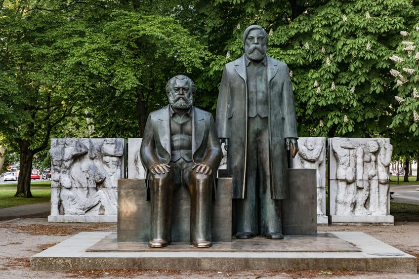 The bronze monument of Karl Marx and Friedrich Engels in Berlin-Mitte