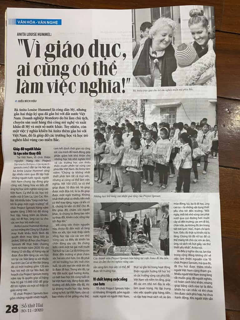 Vietnamese Newspaper Article About Anita Hummel and her work with Project Sprouts