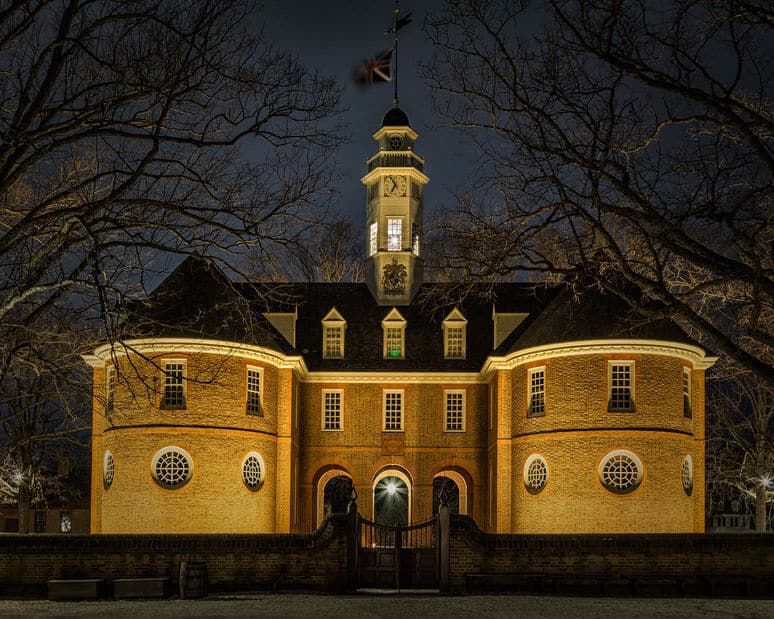 View of the Capital At Night, Colonial Williamsburg