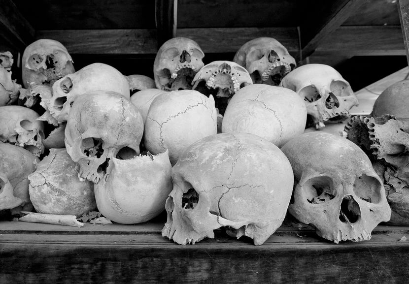 Sketons piled up at the Khmer Rouge Killing Fields