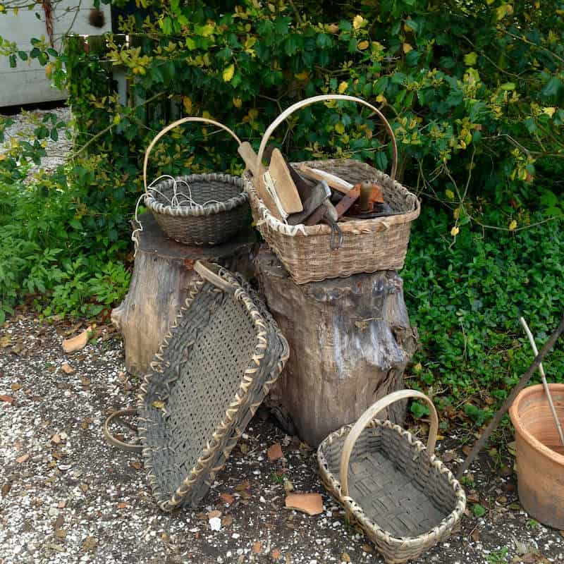 Some Old Baskets in a Garden at Colonial Williamsburg