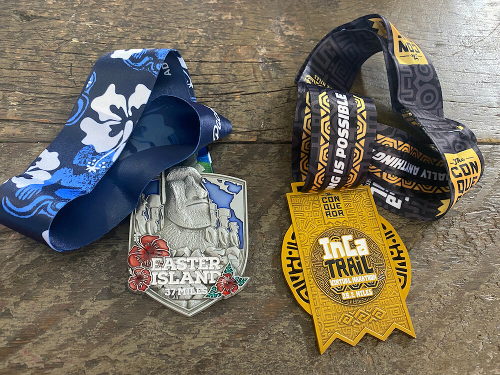Two medals for virtual challenges