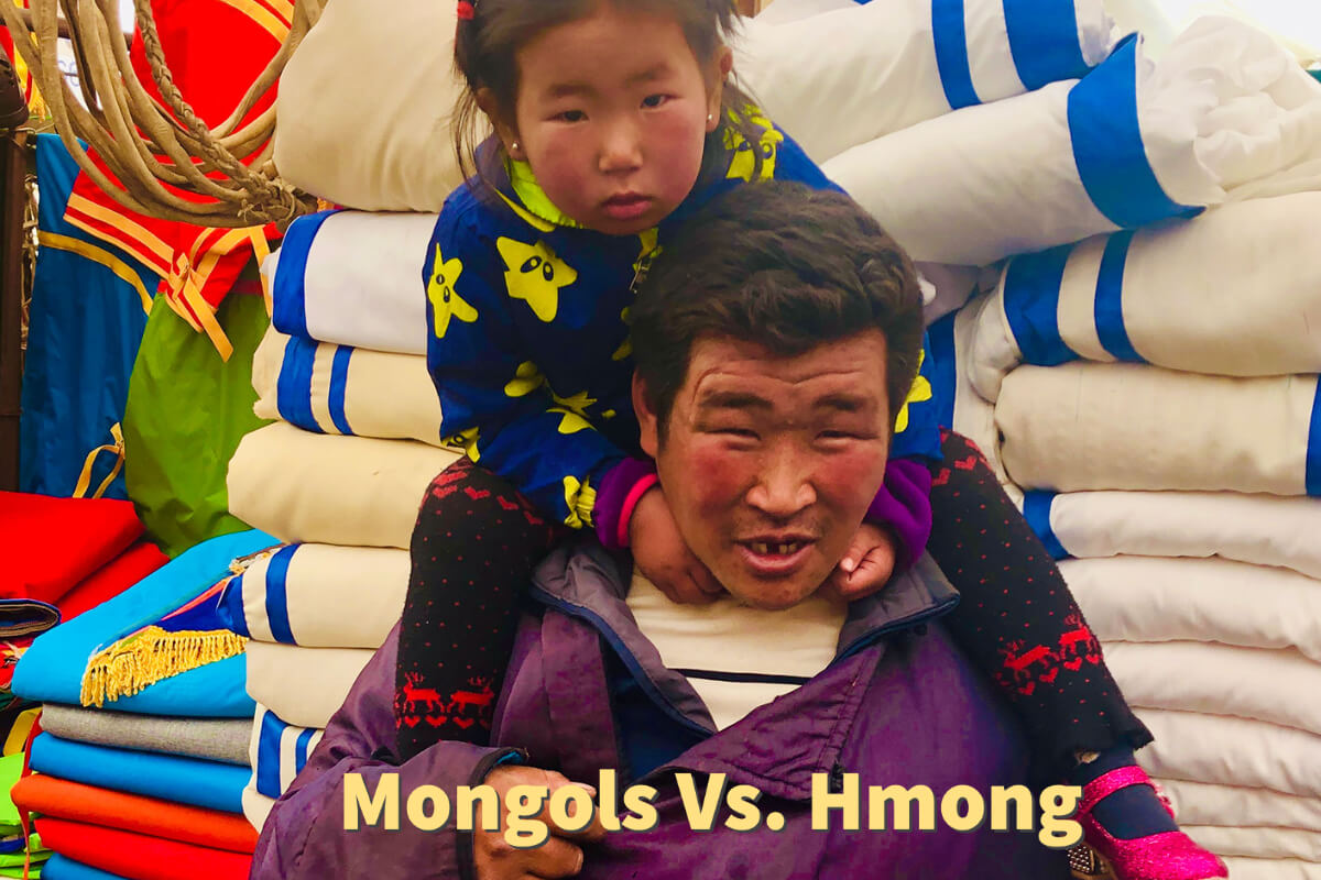 Man and daughter in Mongolia